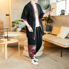 Loldeal Chinese Suit Summer Long-sleeved Shirt + Black Pants Mens Kimono Casual