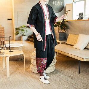 Loldeal Chinese Suit Summer Long-sleeved Shirt + Black Pants Men's Kimono Casual Suit Men's Suit