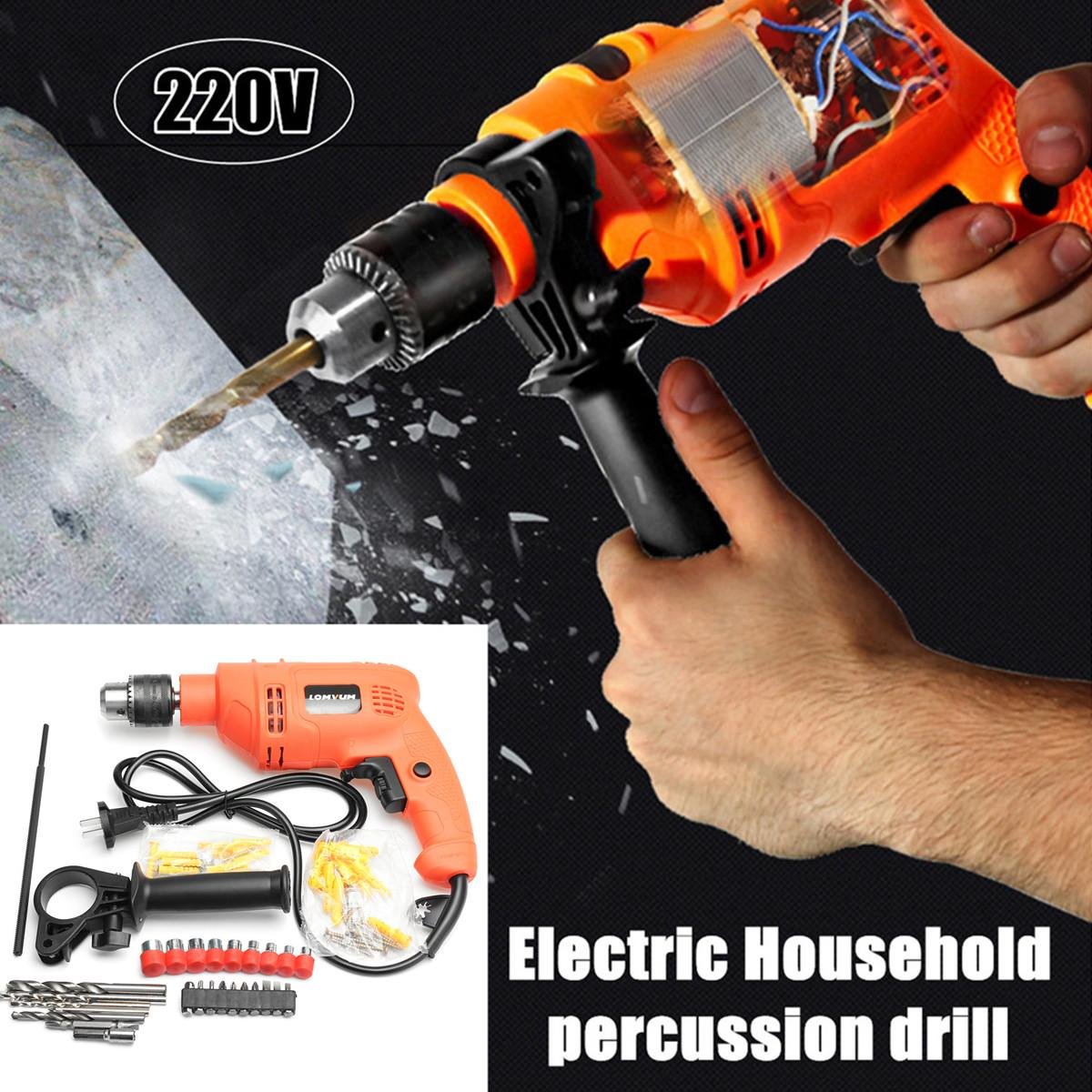 Percussion Electric Hammer Home Power Tools Impact Drill 220v Household Drill Multifunction Rotary Tool Drill ScrewdriverPercussion Electric Hammer Home Power Tools Impact Drill 220v Household Drill Multifunction Rotary Tool Drill Screwdriver