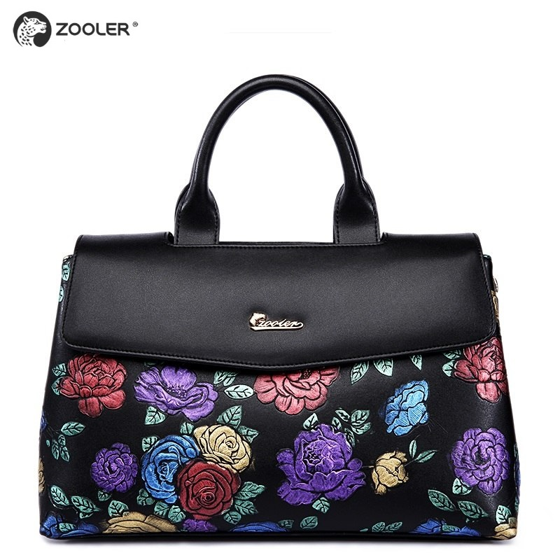 2019 prabangios rankinės odiniai krepšiai moterims ZOOLER sukurtos kokybės piniginės Tikros odos maišelio peties krepšys elegantiškas juodas # 2939