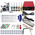 Professional 1Set Great Complete Equipment Single-colored kits Tattoo Machine set Gun Power Supply Cord Kit Body Beauty DIY Tool