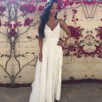 MwWiiWwM-vestido largo femenino de gasa para verano, traje Sexy a la moda para mujer, color blanco o rojo vino, varios tamaños, 2018
