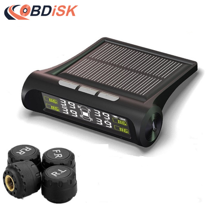 Solar Power TPMS Smart Car Tire Tyre Pressure Monitoring System Wireless Alarm Warning with 4 Sensors BAR PSI LCD Display цена и фото