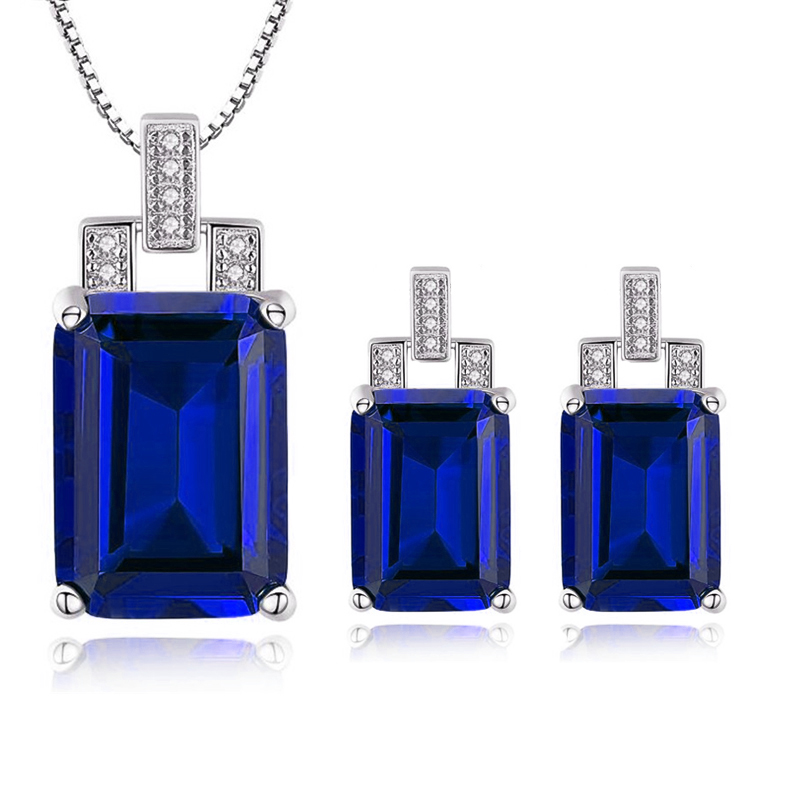 2018 Hot 925 Sterling Silver Jewelry Set Blue Created Sapphire Pendant Necklace & Clip Earring Set Brand For Women Fine Jewelry все цены