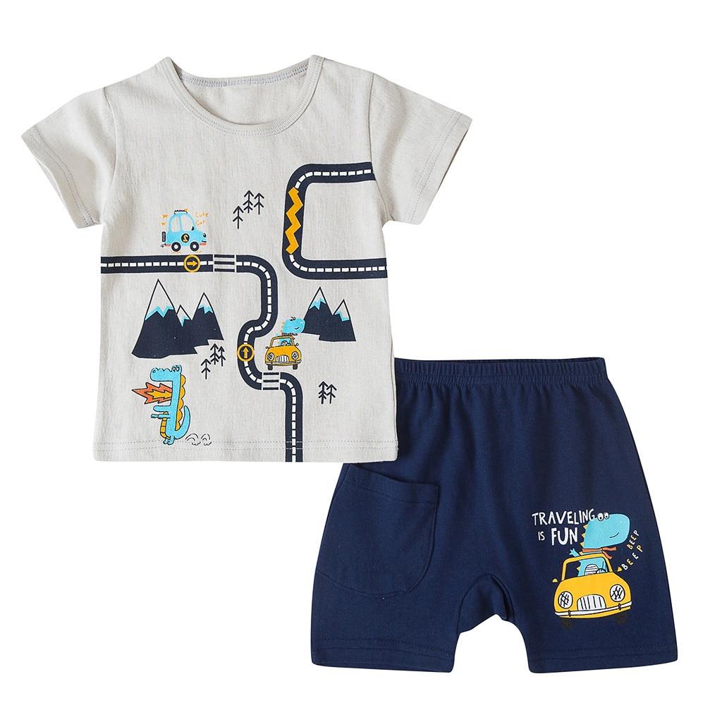 Girls Outfits Shorts Two-Piece-Set Print Baby Boys Kids Children's Cartoon