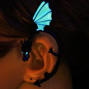 Earrings Dragon Ear Cuff glow Earrings GLOW in the DARK dragon Ear clip earings Stud Earrings WOMEN girls boys gift
