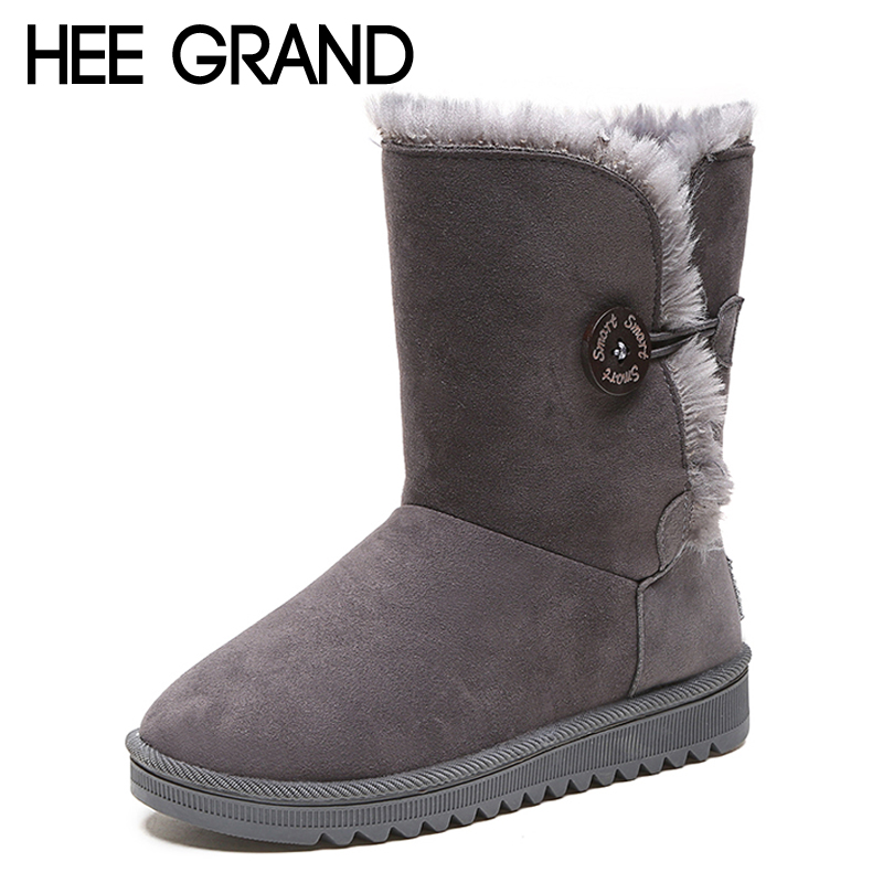 HEE GRAND Fur Winter Button Faux Suede Women Snow Boots Flat with Shoes Woman Gladiator Round toe Women Solid Snow Boots XWM214 hee grand women snow boots winter flat panda pattern shoes woman fur cotton slip on snow ankle boots size 35 40 xwx4498