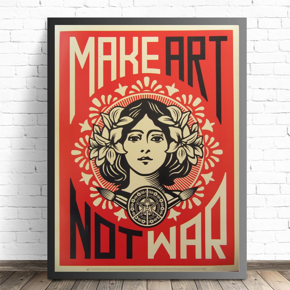 Make Art Not War Pop Art Vintage Poster Prints Oil Painting On Canvas Wall Art Murals Pictures For Living Room Decoration