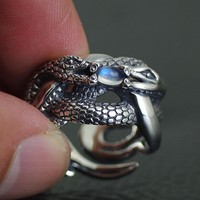 BOCAI silver Natural moonstone ring surface the double snake Thai silver ring