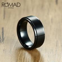 ROMAD Biker ring 8mm Black Spinner Ring for Men Wedding Brands Engagement Rings Stainless Steel Anel Bague Aneis Size 13 R4