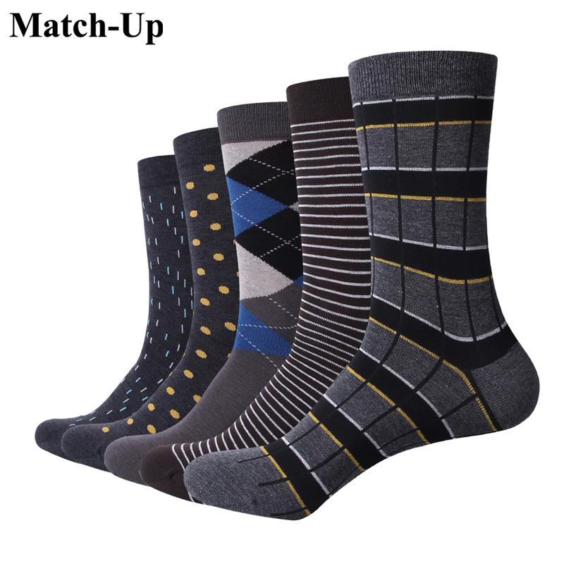 Match-Up Men Business Cotton Stripe Plaid Socks Cool Casual Dress Socks Wedding Gift Socks(5 Pairs / Lot )