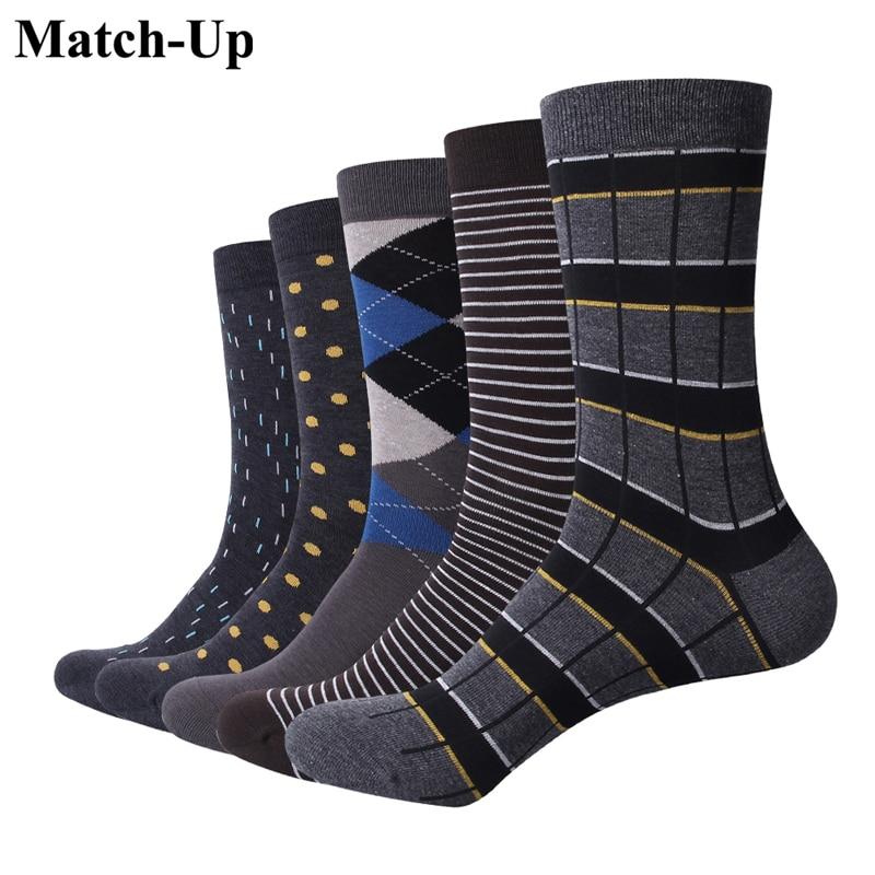 Match-Up Men Business Cotton Stripe Plaid Socks Cool Casual Dress Socks Wedding Gift Socks(5 Pairs / Lot )
