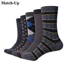 Match up homem negócio algodão listra xadrez meias legal casual vestido meias presente de casamento (5 pares/lote)