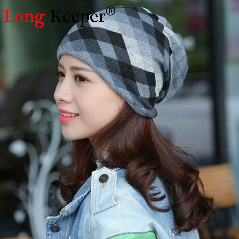 Long Keeper Spring Autumn Casual Brand Hats for Women Plaid Lady Caps Letter Printed Pile Cap Female Beanies Wholesale Retail female caps for autumn