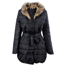 2017 NEW Long down cotton trench coat double Breasted padded jacket belt fur Black