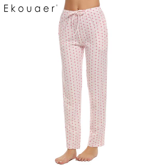 Ekouaer sleep bottoms mujeres de cintura elástica pantalones casuales de impresión cómoda suave floja larga abajo del pijama pantalones del salón homewear