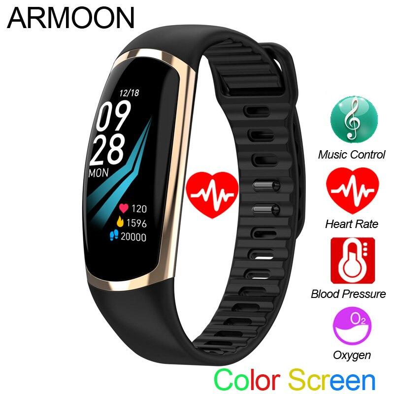 Bracelet intelligent R16 Android IOS bande de fréquence cardiaque moniteur de sommeil pression artérielle Tracker de Fitness étanche couleur écran Sport bande