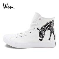 ウェン男女キャンバススニーカー動物ゼブラ手描きの靴オリジナルデザインカラー描画高トップ白いスケート靴