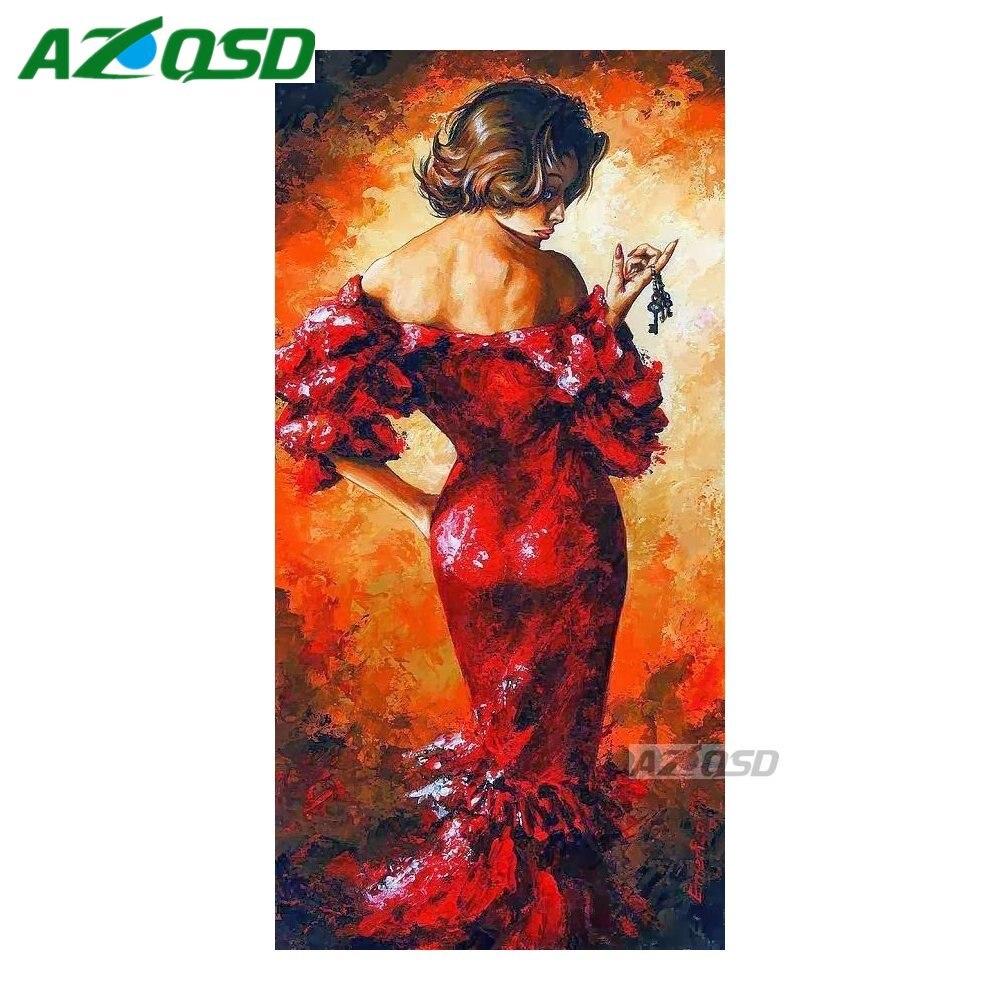 Вышивка крестом красное платье