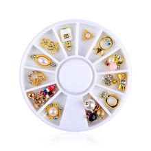 Nails Art Wheel Rose Gold Charms Diamonds Pearl Crown Bow Tie Rhinestones For Gel Nail Decoration Decorations