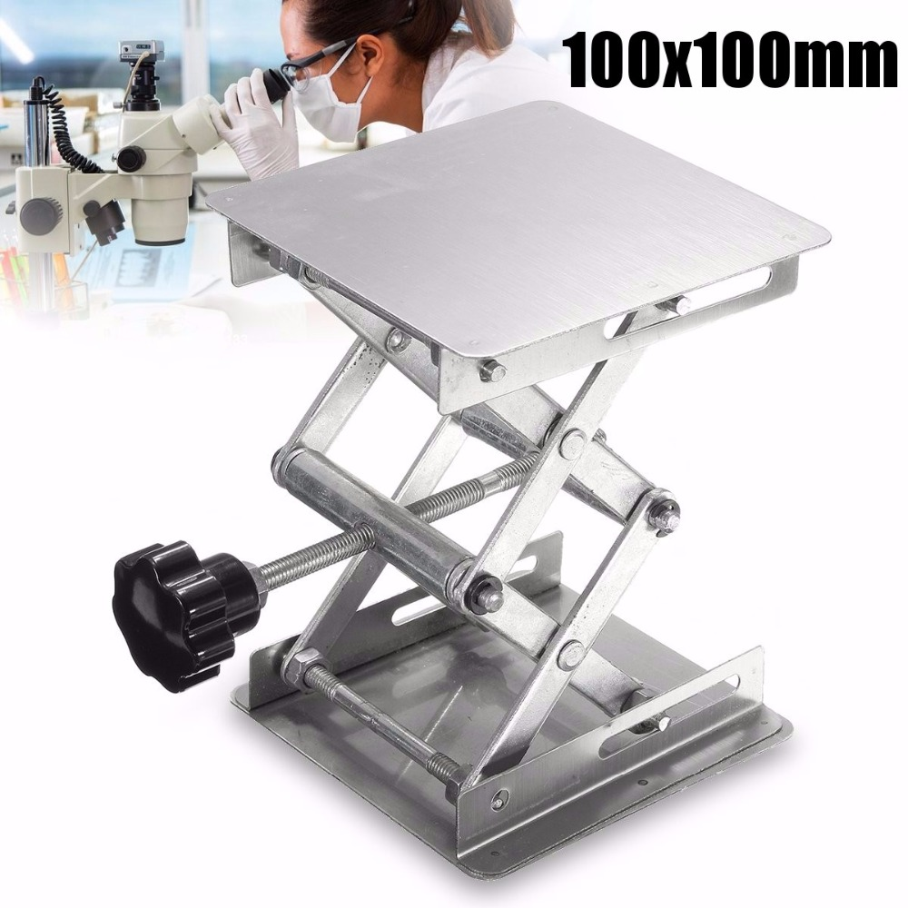 4 x 4Stainless Steel Lab Stand Lifting Platform Laboratory Tool Equip 100x100x155mm lab jack laboratory support jacks 100x100x150mm stainess steel painting lifting table raising platform 4 inch export to europe