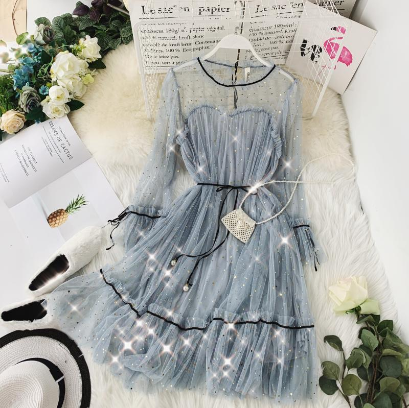 HISUMA spring autumn new women Star sequins gauze flare sleeve lace-up Princess dress female elegant o-neck mesh puff dresses 57