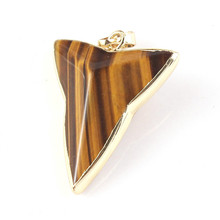 Trendy-beads Light Yellow Gold Color Natural Tiger Eye Stone Arrow Shape Pendant Statement Jewelry