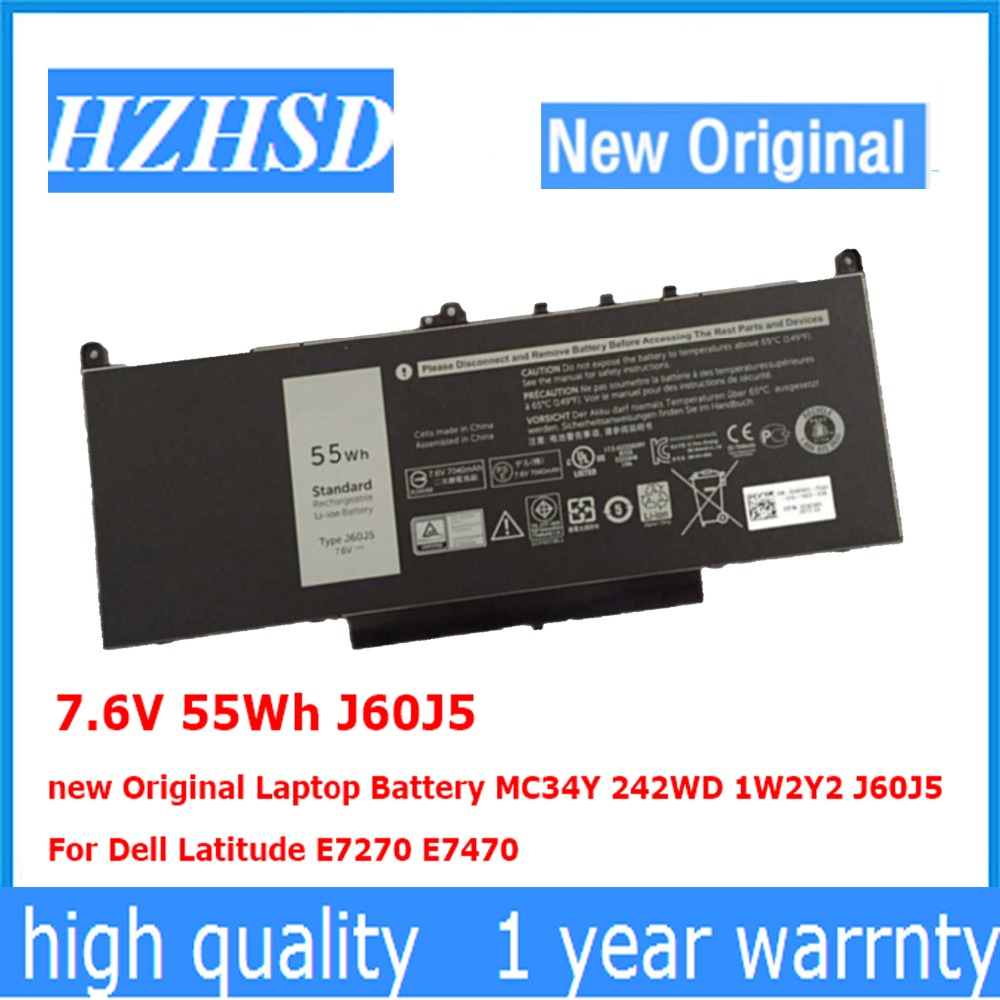 7.6V 55Wh J60J5 New Original Laptop Battery MC34Y 242WD 1W2Y2 J60J5  For Dell Latitude E7270 E7470