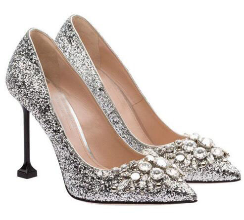Pointed toe silvery high heel shoes Women graceful shallow bling crystal thin heel shoes Ladies' dress shoes Wedding shoes graceful butterfly pattern high waist dress