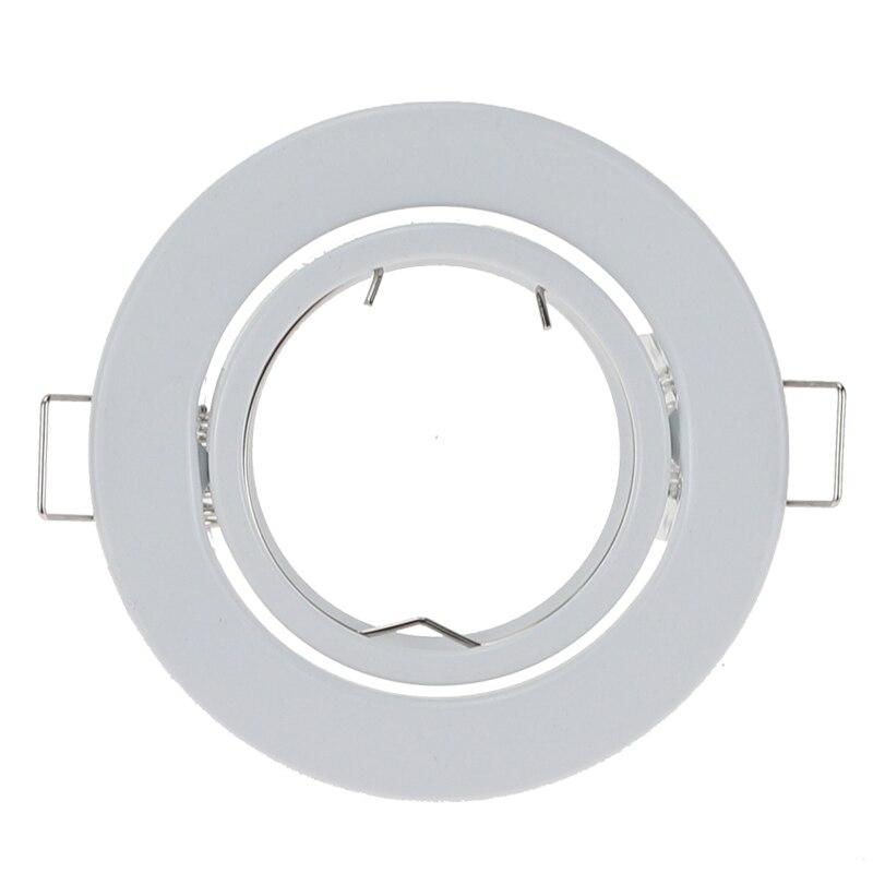 10 قطعة/الوحدة جولة الأبيض مصباح ضوء غائر في السقف قابل للتعديل الإطار ل GU10 MR16 تركيب تصاعد السقف مصابيح كشاف صغيرة الحجم الإطار