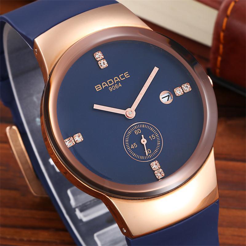Fashion Simple Stylish Top Luxury Brand BADACE Watches Men PU Silicone Strap Quartz-watch Male Diamond Sub-dial Calendar Watch стоимость
