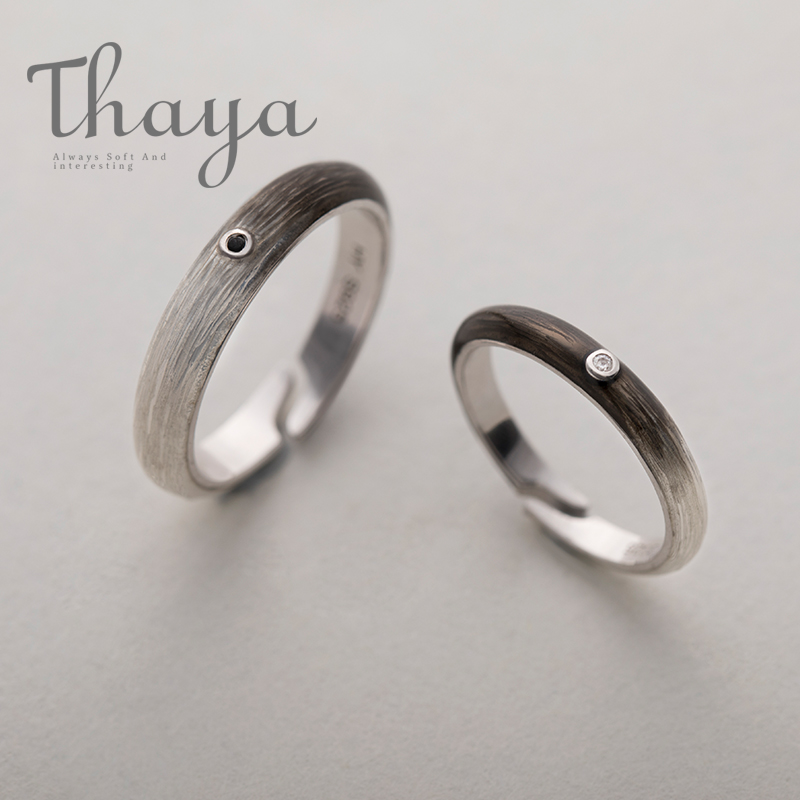 Thaya Black To White Gradient Rings Customized Engraved Texts Signature S925 Silver Ring For Women Unisex Promise Love Jewelry