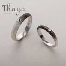 Thaya Black to White Gradient rings Customized Engraved Texts Signature s925 silver ring for women Unisex Promise Love Jewelry(China)