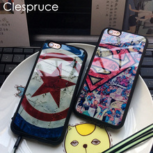 Clespruce Star Captain America Superman Soft Silicone Mirror Back Cover Phone Case For Iphone X 8 8plus 7 6 6s plus 5 5s SE Capa(China)