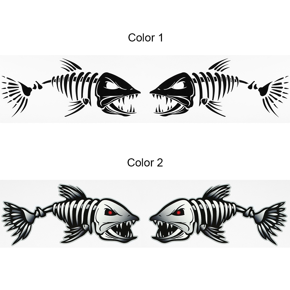 2 Pieces Fish Teeth Mouth Stickers Skeleton Fish Stickers Graphics Accessories For Kayak Fishing Boat Canoe Dinghy Window Car