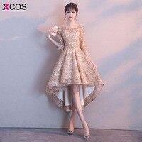 Khaki Color Half Sleeves High Low Flower Appliques Tea Length Bridesmaids Dresses 2018 Short Wedding Party Dress