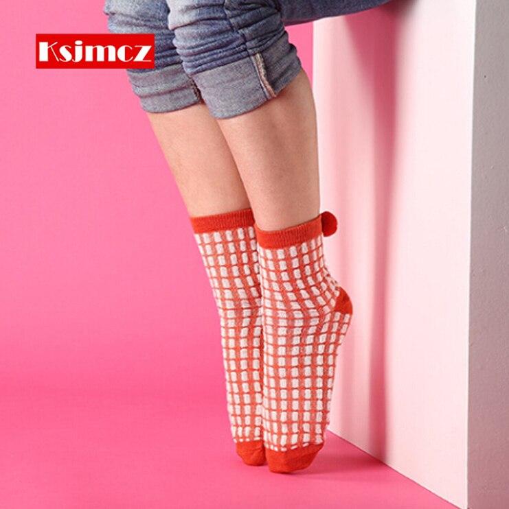 4 Pair KSJMCZ Cotton Socks Handball Ball Womens Socks Colorful Cute Lady Socks 4-Colors Sweet Girl