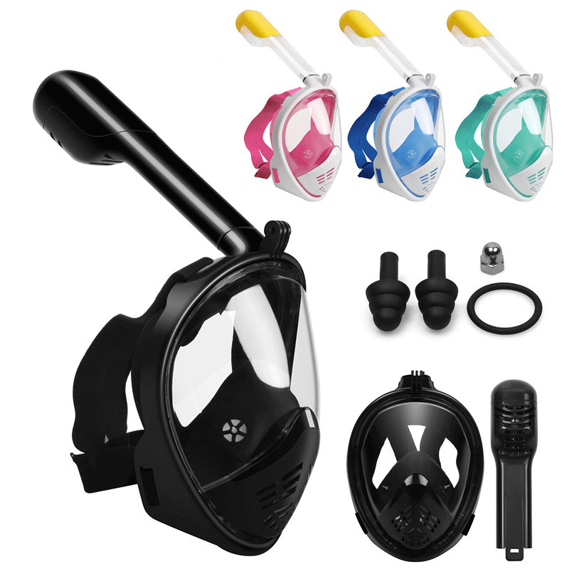 Snorkel Mask 180 Panoramic View Free Breathing Full Face Snorkeling Mask  Dry Top Set Anti-fog Anti-leak For Adults & Kids