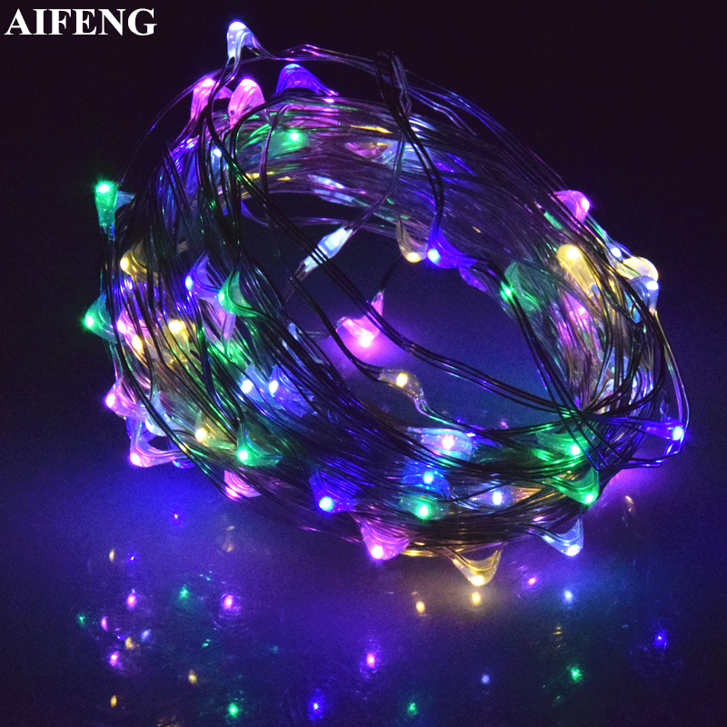 AIFENG USB Fairy Lights 10M 100Led Silver Copper Wire Light String 5V USB Powered Waterproof Christmas Wedding Party Fairy Light