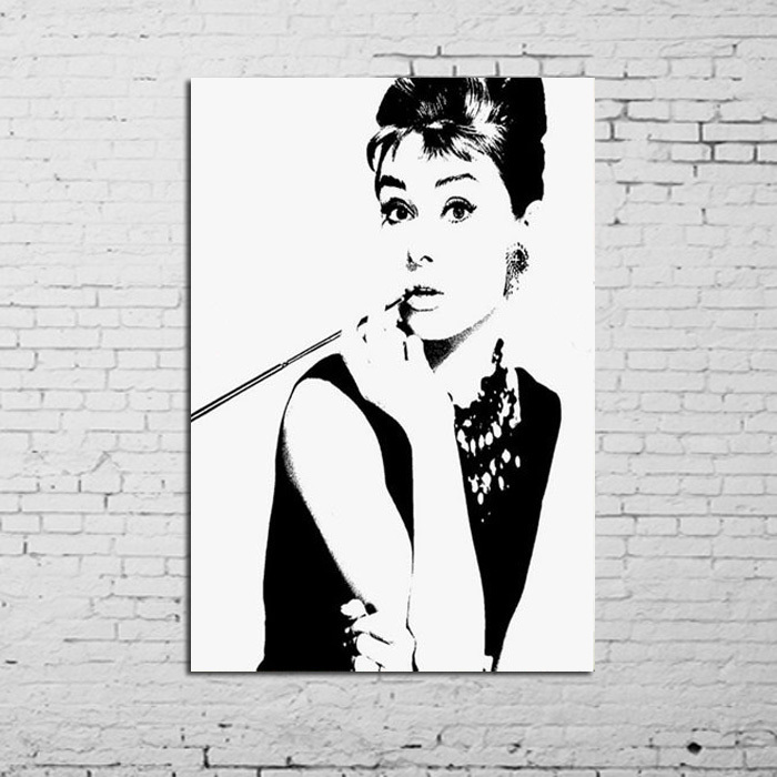 Audrey Hepburn Wall Art aliexpress : buy free shipping100% hand painted black and