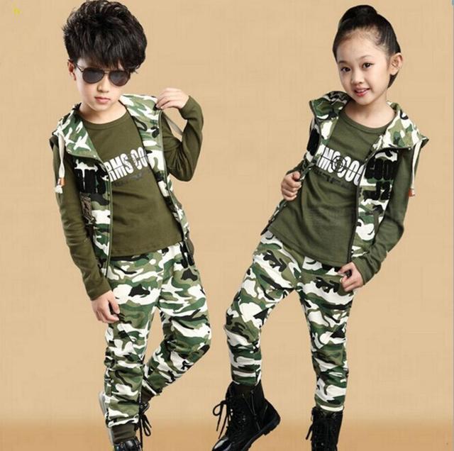 Camuflagem criança Roupas Set 3 Pcs Terno do Esporte das Crianças para Meninos & Meninas Primavera & Outono Algodão Camuflar conjunto de roupas HB0032