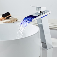 Bathroom Waterfall Led Faucet. High Sink Waterfall Brass Basin Faucet. Bathroom Mixer Tap Deck Mounted basin sink Mixer Tap