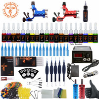Complete Rotary Tattoo Kit 2 Rotary Tattoo Machines Guns Set 20 Color Ink Sets Power Supply Needles Tip Body Art Grip Tattoo Set