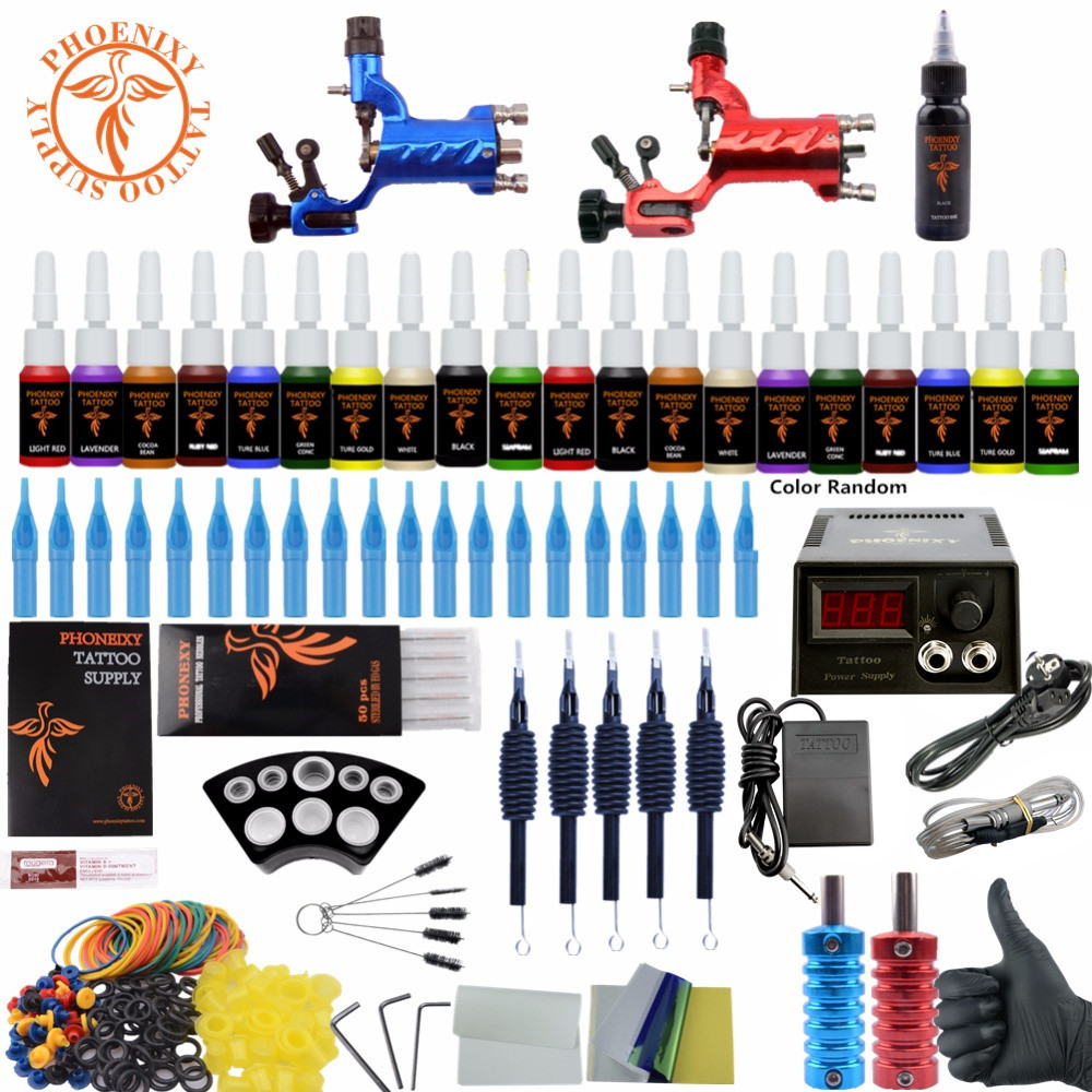 Complete Tattoo Kit Beginner Tattoo Starter Kits 2 Rotary Tattoo Machines Guns 20 Ink Sets Power Supply Needles Top Tattoo Ink ophir 380pcs pro complete tattoo kit 3 tattoo machines guns 40 colors ink pigment tattoo supply power needles nozzles set ta005