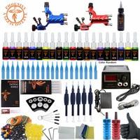 Complete Tattoo Kit Beginner Tattoo Starter Kits 2 Rotary Tattoo Machines Guns 20 Ink Sets Power Supply Needles Top Tattoo Ink