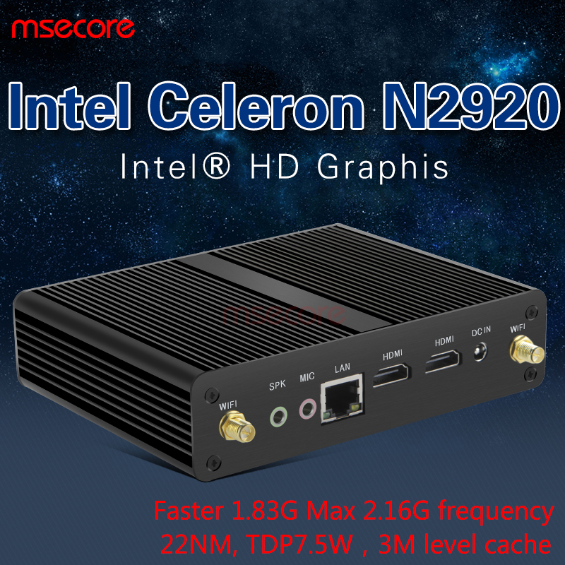 Intel N2920 Mini PC Desktop Computer TV BOX Windows 10 Nettop barebone system Fanless Quad core