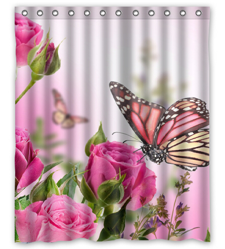 WARM TOUR Pink Ross Flying Butterfly Custom Shower Curtain Bathroom Decor  Free Shipping