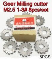 M2.5 Modulus PA20 graden NO.1-NO.8 8 stks/set HSS Versnelling frees Gear snijgereedschap Gratis verzending