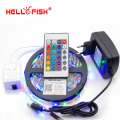 Hello Fish 5M 3528 300 SMD Flexible LED Strip Light + 24 keys IR Remote Controller +12V 2A Power Adapter Free Shipping