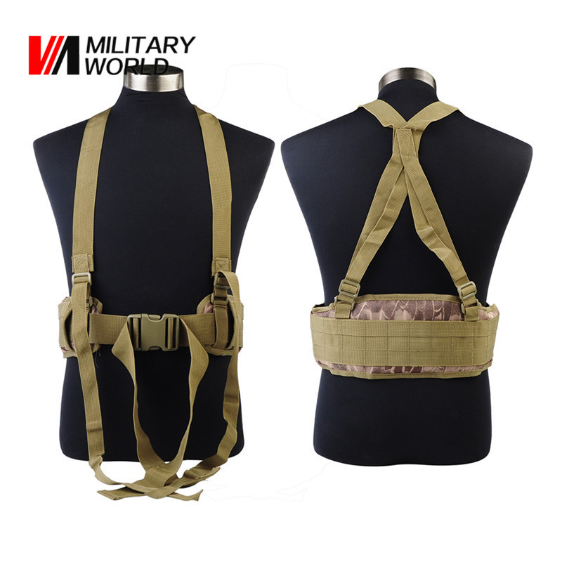 Outdoor Sport Molle Adjustable Tactical Waist Padded Belt With H-shaped Suspender Military Airsoft Nylon Cummerbunds For Men